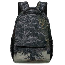 yanfind Children's Backpack Mysterious Abies Plant Spruce Beam Pictures Misty Outdoors Stock Grey Tree Preschool Nursery Travel Bag
