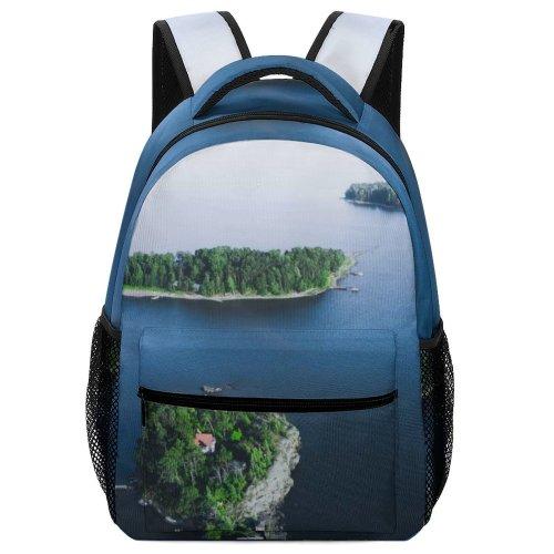 yanfind Children's Backpack Land Outdoors Ocean Sea Shoreline Coast Beach Island Peninsula Grey PNG Preschool Nursery Travel Bag