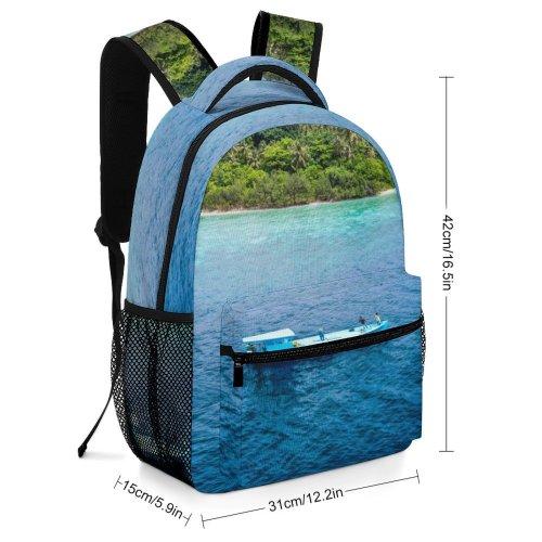 yanfind Children's Backpack Land Outdoors Ocean Sea Shoreline Boat Transportation Vehicle Island Coast Vessel Watercraft Preschool Nursery Travel Bag