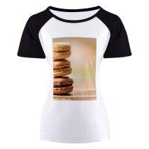 yanfind Women's Sleeve Raglan T Shirt Short Baking Chocolate Cream Delicious Dessert Flavors Indulgence Macarons Meringue Pastry Stacks Sugar
