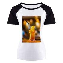 yanfind Women's Sleeve Raglan T Shirt Short Bokeh Cocktail Glass Fruit Juice Lemon Liquid Refreshing Refreshment