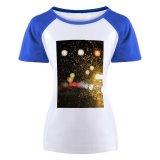 yanfind Women's Sleeve Raglan T Shirt Short Abstract Blurred Car Colours Dark Drop Evening Glass Glisten Night