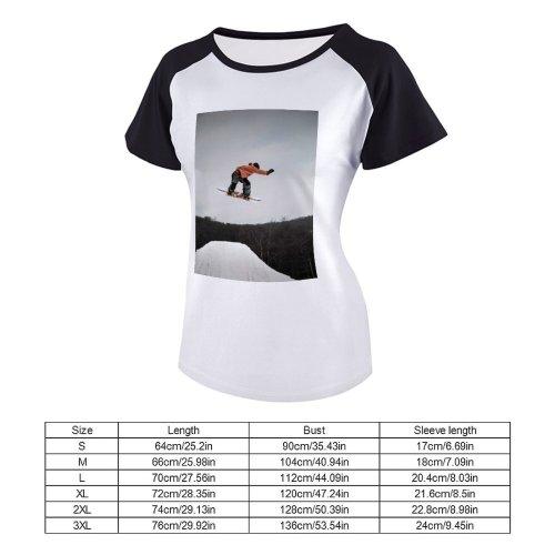 yanfind Women's Sleeve Raglan T Shirt Short Action Adventure Balance Fun Leisure Motion Outdoors Recreation Resort Ski