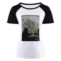 yanfind Women's Sleeve Raglan T Shirt Short Chairs Coffee Cup Fashion Furnitures Girls Juice Plants Pots Side Table Wear