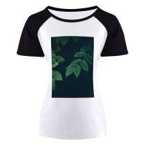 yanfind Women's Sleeve Raglan T Shirt Short Ecology Flora Flower Garden Growth Leaf Leaves Light Outdoors Purity Summer