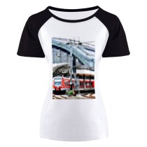 yanfind Women's Sleeve Raglan T Shirt Short Catenary Central Station City Departure Passengers Public Transportation Rail Traffic Railroad