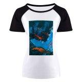yanfind Women's Sleeve Raglan T Shirt Short Abstract Expressionism Acrylic Art Artistic Canvas Colorful Contemporary Creative Creativity Design Gouache_