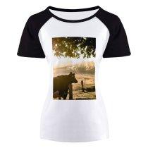 yanfind Women's Sleeve Raglan T Shirt Short Cattle Countryside Cow Dawn Early Morning Farm Farming Farmland Fence Field Fog