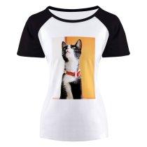yanfind Women's Sleeve Raglan T Shirt Short Cat Furry Pet Tabby