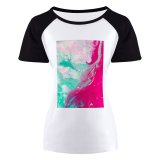 yanfind Women's Sleeve Raglan T Shirt Short Abstract Expressionism Acrylic Art Artistic Canvas Colorful Contemporary Creative Creativity Design Glowing