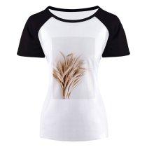 yanfind Women's Sleeve Raglan T Shirt Short Cereal Crop Dry Grass Harvest Rye Straw Wheat