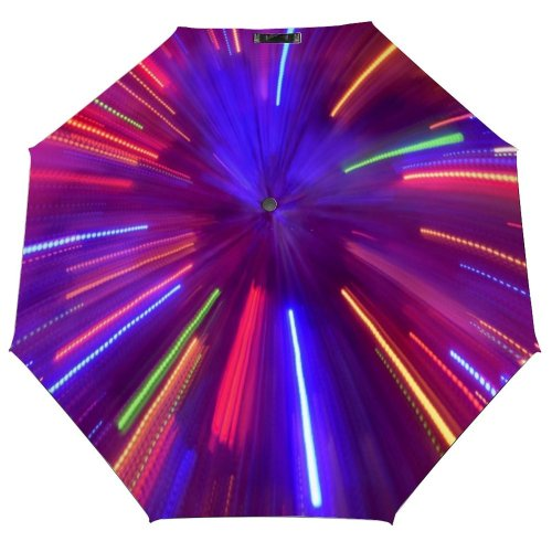 yanfind Umbrella Manual Natural Illuminated Abstract Light Lighting Glowing Trail Defocused Vibrant Neon Night Speed Windproof waterproof anti-ultraviolet protection golf umbrella
