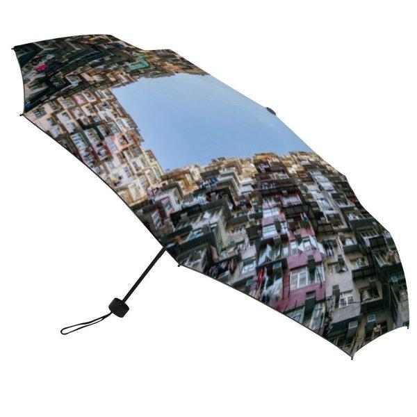 yanfind Umbrella Manual Natural Built Famous Block Housing Slum Mining Tsui Downtown Facade Window Windproof waterproof anti-ultraviolet protection golf umbrella