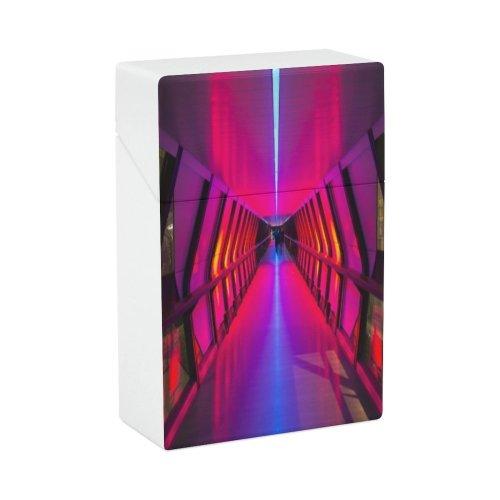 yanfind Cigarette Case Arcade Tunnel Tree Way Direction Neon Lighting Empty Natural Purple Footpath Transportation Hard Plastic Crushproof Cigarette Case