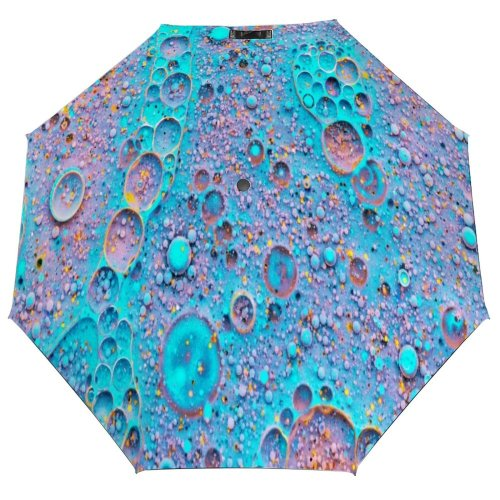 yanfind Umbrella Manual Natural Dye Liquid Splattered Bubble Magnification Chemistry Oil Art Abstract Morphing 002 Windproof waterproof anti-ultraviolet protection golf umbrella