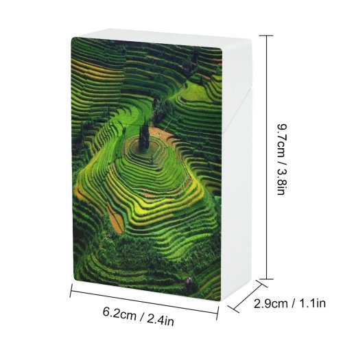yanfind Cigarette Case Agriculture Growth Rural Beauty Scenics High Cai Terraced Natural Foliage Field Rice Hard Plastic Crushproof Cigarette Case