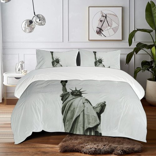 yanfind Bedding Set of 3 (1 Cover, 2 Bed Pillowcase Without Sheet)City Images Fog Wallpapers Torch States York Aircraft Monument Crown America Art Duvet Cover personalization