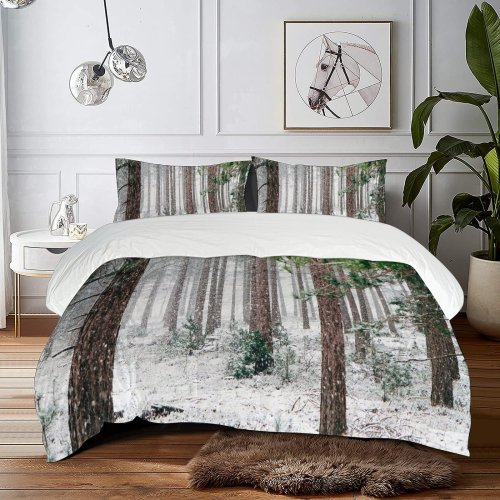 yanfind Bedding Set of 3 (1 Cover, 2 Bed Pillowcase Without Sheet)Birch Images Christmas Land Flora Pine Landscape Snow Wallpapers Plant Outdoors Tree Duvet Cover personalization