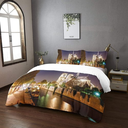 yanfind Bedding Set of 3 (1 Cover, 2 Bed Pillowcase Without Sheet)City Images Cathédrale Place Building Jean Paul Ii Canal Metropolis Notre Dame Wallpapers Boat Duvet Cover personalization