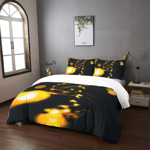 yanfind Bedding Set of 3 (1 Cover, 2 Bed Pillowcase Without Sheet)Bokeh Images Night Darkness Wallpapers Fire Smile Dark Neon Duvet Cover personalization