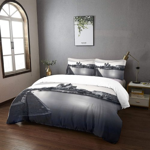 yanfind Bedding Set of 3 (1 Cover, 2 Bed Pillowcase Without Sheet)City Castle Ditch Building Metropolis Silence Wallpapers Moat Architecture Outdoors Urban Fate Duvet Cover personalization