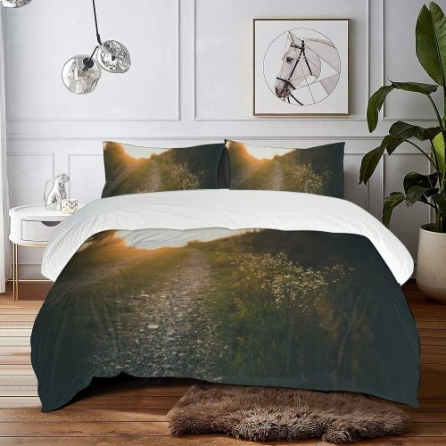 yanfind Bedding Set of 3 (1 Cover, 2 Bed Pillowcase Without Sheet)Bokeh Images Path Trail HQ Landscape Public Grass Wallpapers Road Sunlight Duvet Cover personalization