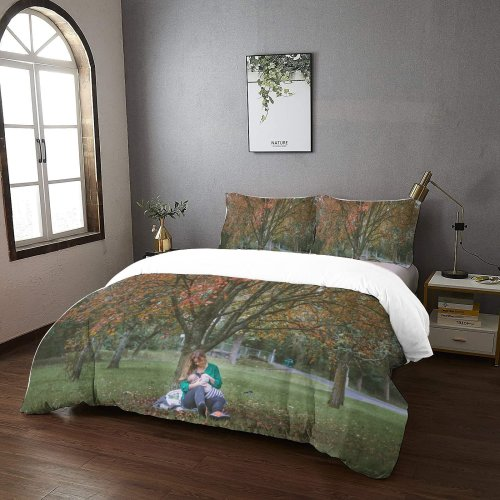yanfind Bedding Set of 3 (1 Cover, 2 Bed Pillowcase Without Sheet)Caerdydd Images Fall Autumn Mother Nursing Park Grass Wallpapers Tree Feeding Pictures Duvet Cover personalization