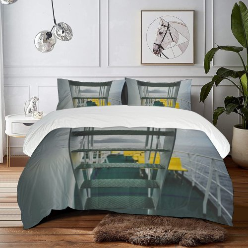 yanfind Bedding Set of 3 (1 Cover, 2 Bed Pillowcase Without Sheet)Banister Staircase Driving Building Riding Wallpapers Empty Handrail Architecture Stock Skipping Croatia Duvet Cover personalization