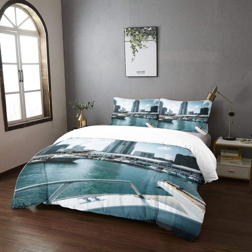yanfind Bedding Set of 3 (1 Cover, 2 Bed Pillowcase Without Sheet)City Banister Images Pier Building Marina Metropolis Wallpapers Boat Urban Railing States Duvet Cover personalization