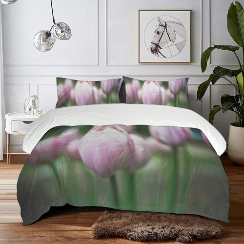 yanfind Bedding Set of 3 (1 Cover, 2 Bed Pillowcase Without Sheet)Bokeh Images Space Rose Wallpapers Plant Tulip Beauty Bloom Natural Warm Duvet Cover personalization