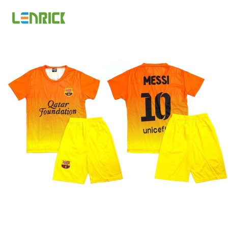 Lenrick 2016-2017 Barcelona Away Soccer Jersey Kids Kit Yellow