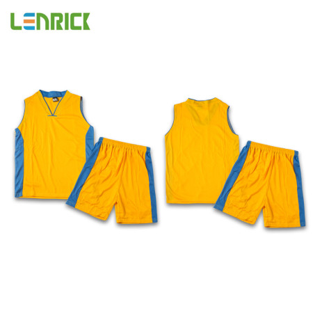 Lenrick Adult NBA Basketball Jersey Uniform Yellow Youth Basketball Tracksuit Sets Shirt+Short