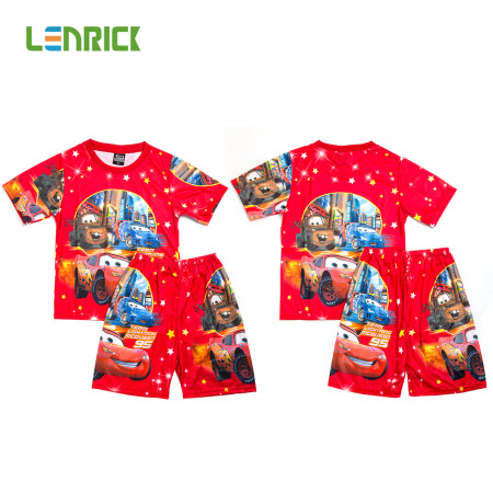 Lenrick Cars Boys Pajamas Set  Red  Pijamas Kids Sleepwear Cartoon T-shirts+Shorts Summer Pajamas for Kids Pyjama Boy Clothes