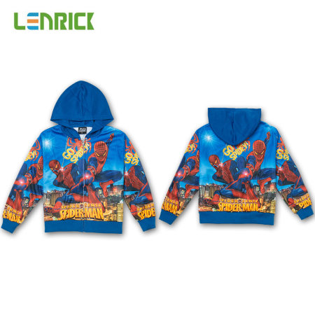 Lenrick Cartoon Boys  Spiderman  Hoodies Blue Wholesale