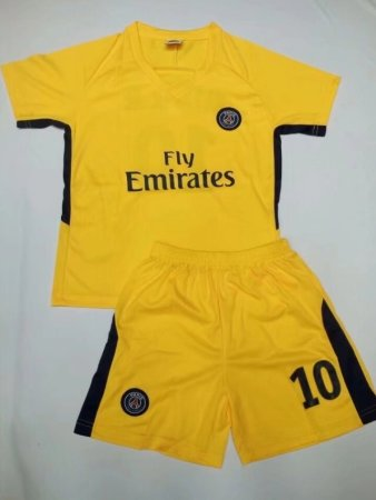17-18 Kids Cheap PSG Home Soccer Jersey Uniform NEYMAR JR 10 Children Cheapest Football Kits Complete Uniform Shirt +Short