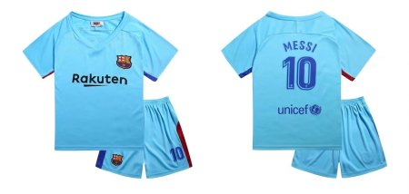 17-18 Cheaper Children Barcelona Away Blue Soccer Jersey Uniform Kids Football Kits Messi 10