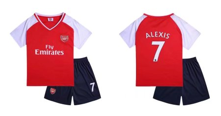 17-18 Cheap Boy Arsenal Home Soccer Jersey Uniform Alexis 7 Kids Complete Kits Shirt+short Sets