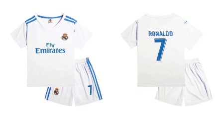 17-18 Real Madrid Home White Soccer Jersey Kits Football Complete Uniform Ronaldo 7