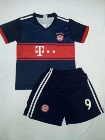 17/18 Kits Bayren Munich Away Blue/red Jersey Uniform  lewandowski 9 Kids Cheapest Football Complete Uniform Shirt +Short