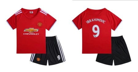 17-18 Cheap Kids Manchester United Home Red Soccer Jersey Uniform Ibrahimovic 9 Child Football Jersey Kits Shirt+Short