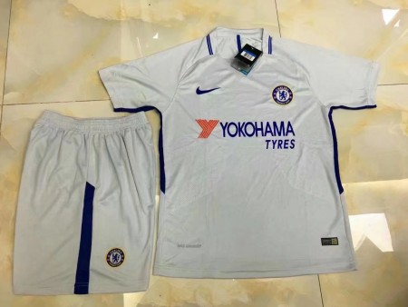 17/18 Cheap Adult Chelsea Away White Soccer Jersey Blue Uniform Hazard 10 Man Shirt+Short Tracksuit
