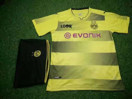 17/18 Cheap Adult Borussia Dortmund Home Soccer Jersey Uniform  Shirt+short Man Yellow Jersey Trainning Sport Tracksuit