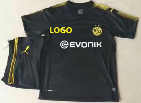 17/18 Cheap Adult Borussia Dortmund Away Soccer Jersey Uniform  Shirt+short Man Black Jersey Training Sport Tracksuit