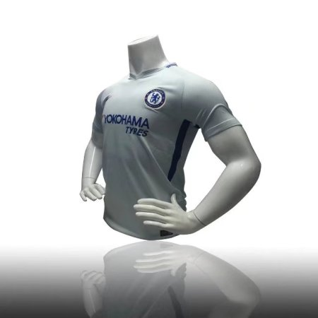 REPLICA CHELSEA AWAY JERSEY 17/18 - PURE PLATINUM/RUSH BLUE WHITE ADULT SOCCER JERSEY  Men Football Top Shirt