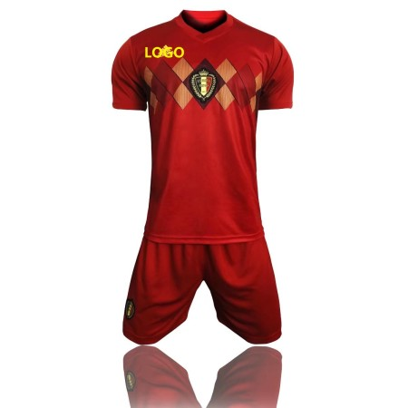 2018 Russia World Cup Adult Belgium Home Soccer Uniform Men Football Kits Blue Custom Name Number