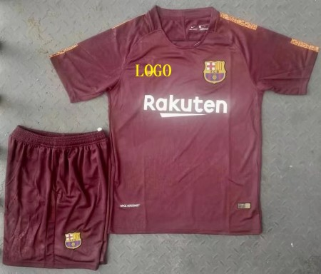 17-18 A Quality Adult Barcelona Second Away Soccer Jersey Uniform Shirt+Short Man  Football Sport Jersey