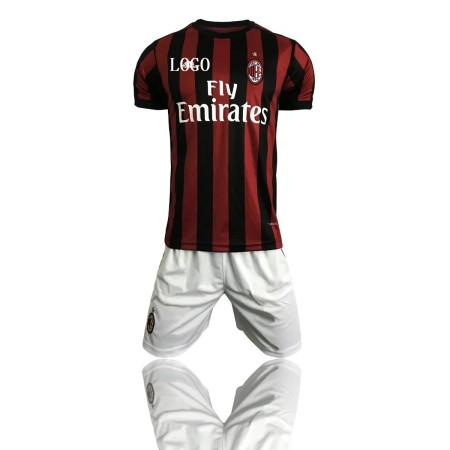 17-18 AC Milan Home Kits Adult Soccer Complete Uniforms Men de fubol Uniform Wholesale