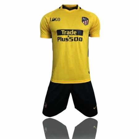 17-18 Cheap Adult Atletico Madrid Yellow Away Soccer Jersey Unifroms Training Sport Tracksuit Man Set Top+Short