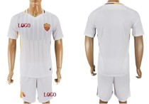 17-18 Adult Roma Away White Soccer Kits Men Team Football Uniform Cheap Replica Jersey Sets