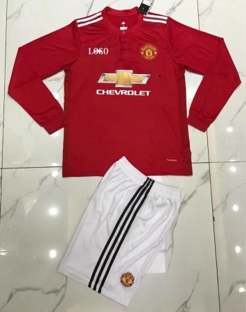 Manchester United Home Red/white Long Sleeve Jersey Uniforms